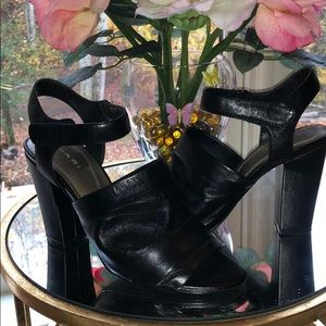 Tahari black leather block heeled sandals